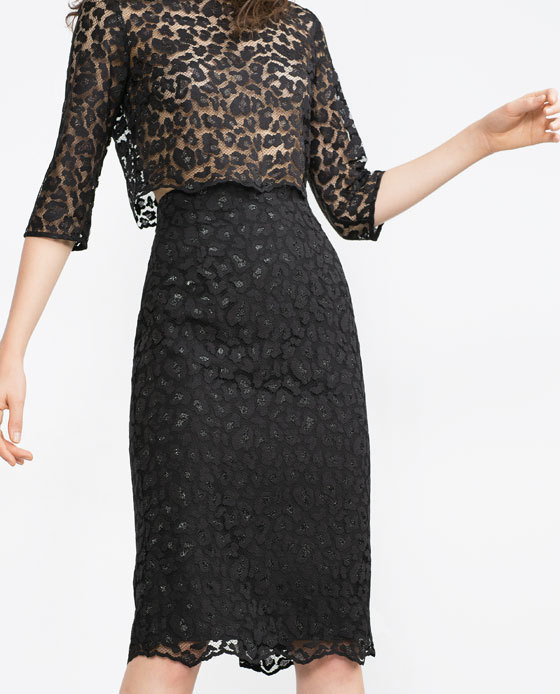 Lace Pencil Skirt - style: pencil; fit: tailored/fitted; waist: high rise; predominant colour: black; occasions: evening, occasion; length: just above the knee; fibres: nylon - 100%; waist detail: narrow waistband; texture group: lace; pattern type: fabric; pattern: patterned/print; pattern size: standard (bottom); season: a/w 2015