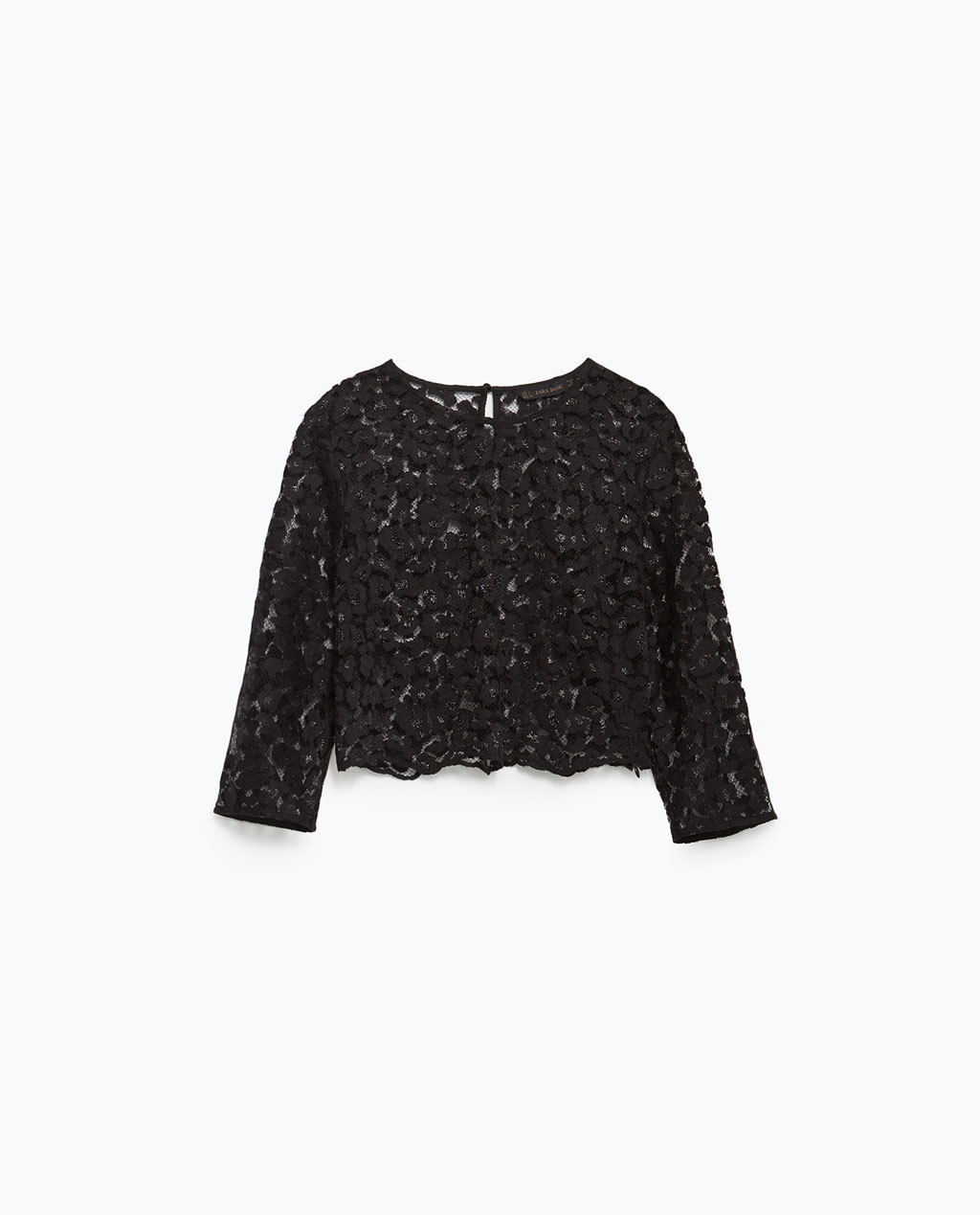 Lace Cropped Top - neckline: round neck; pattern: plain; predominant colour: black; occasions: evening; length: standard; style: top; fit: straight cut; sleeve length: 3/4 length; sleeve style: standard; pattern type: fabric; texture group: other - light to midweight; embellishment: lace; season: a/w 2015; wardrobe: event