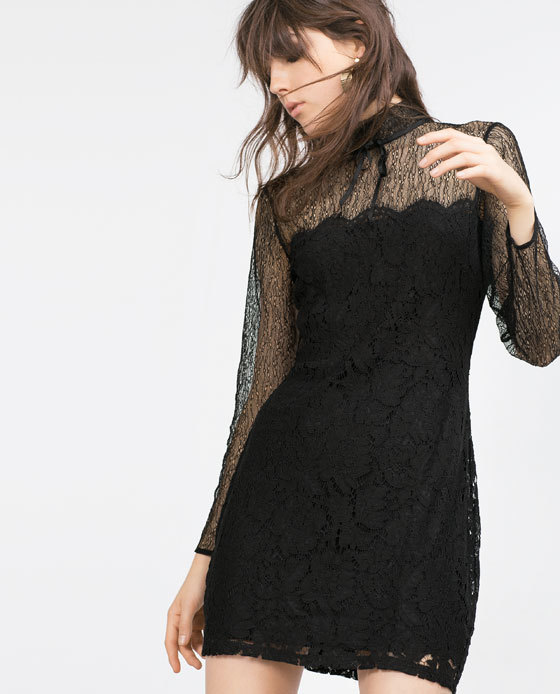 Lace Dress - style: shift; length: mid thigh; fit: tailored/fitted; neckline: high neck; predominant colour: black; occasions: evening; fibres: polyester/polyamide - mix; sleeve length: long sleeve; sleeve style: standard; texture group: lace; pattern type: fabric; pattern size: standard; pattern: patterned/print; embellishment: lace; season: a/w 2015