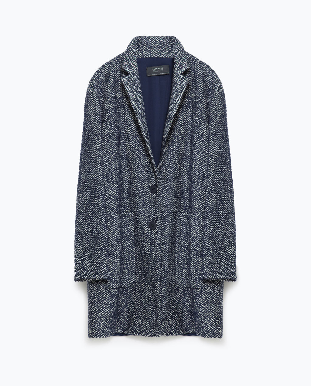 Wool Coat - fit: loose; collar: standard lapel/rever collar; pattern: herringbone/tweed; length: mid thigh; secondary colour: white; predominant colour: navy; occasions: casual, creative work; style: cocoon; fibres: wool - 100%; sleeve length: long sleeve; sleeve style: standard; collar break: medium; pattern type: fabric; pattern size: standard; texture group: tweed - bulky/heavy; season: a/w 2015; wardrobe: basic