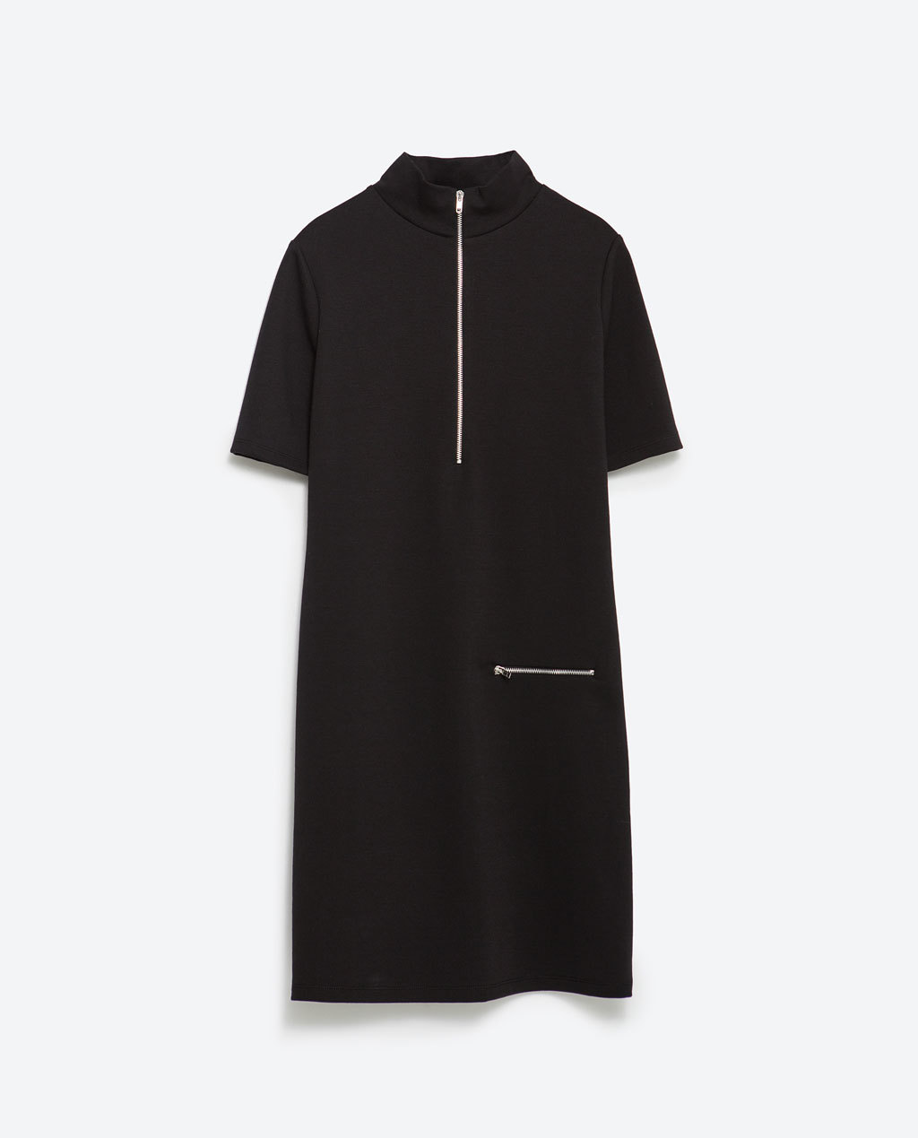 Dress With Zips - style: shift; pattern: plain; neckline: high neck; predominant colour: black; occasions: casual, creative work; length: just above the knee; fit: body skimming; fibres: polyester/polyamide - stretch; sleeve length: short sleeve; sleeve style: standard; pattern type: fabric; texture group: woven light midweight; season: a/w 2015; wardrobe: basic
