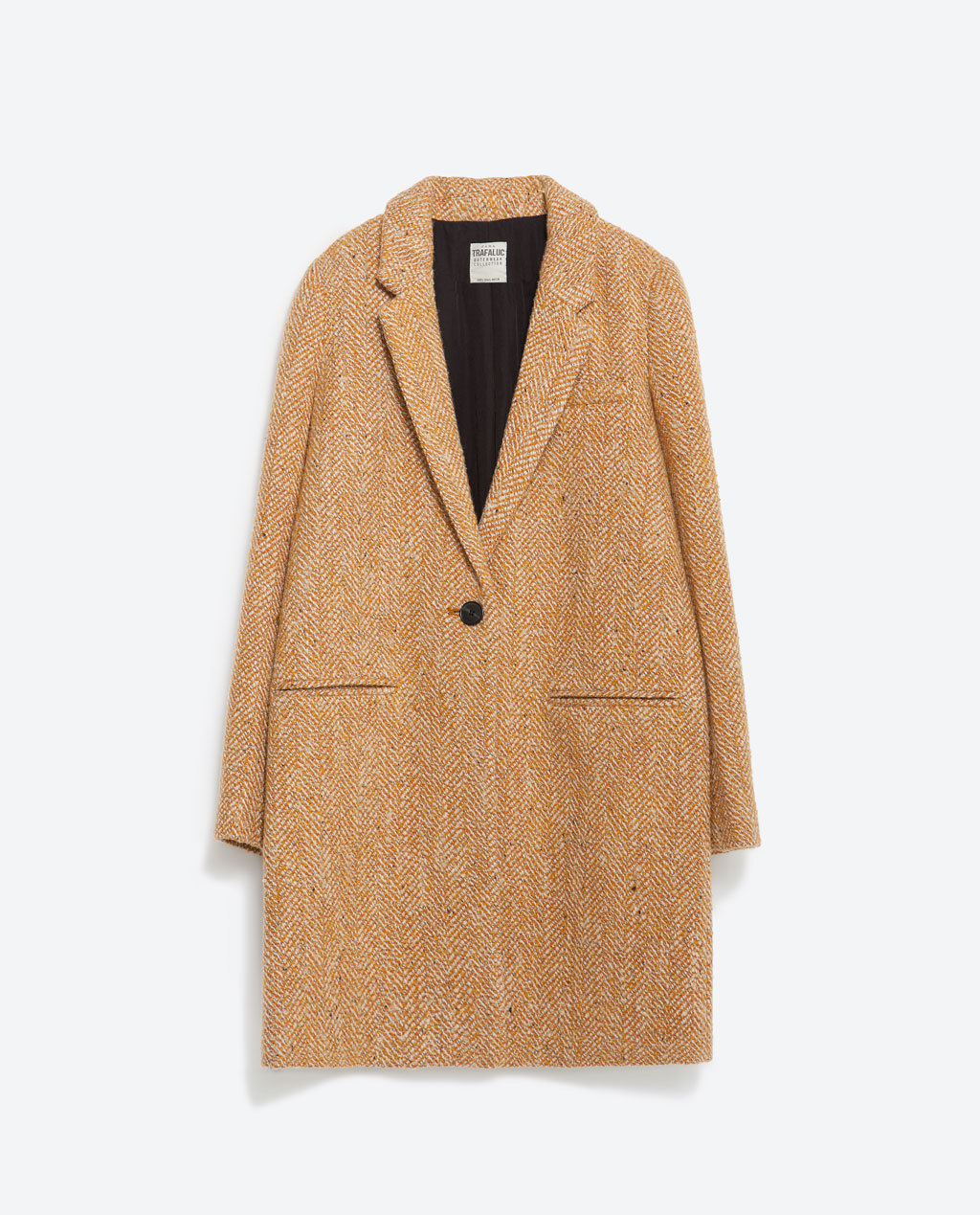 Masculine Coat - style: single breasted; collar: standard lapel/rever collar; pattern: herringbone/tweed; length: mid thigh; secondary colour: ivory/cream; predominant colour: camel; occasions: casual, creative work; fit: straight cut (boxy); fibres: wool - mix; sleeve length: long sleeve; sleeve style: standard; collar break: medium; pattern type: fabric; pattern size: standard; texture group: tweed - bulky/heavy; season: a/w 2015
