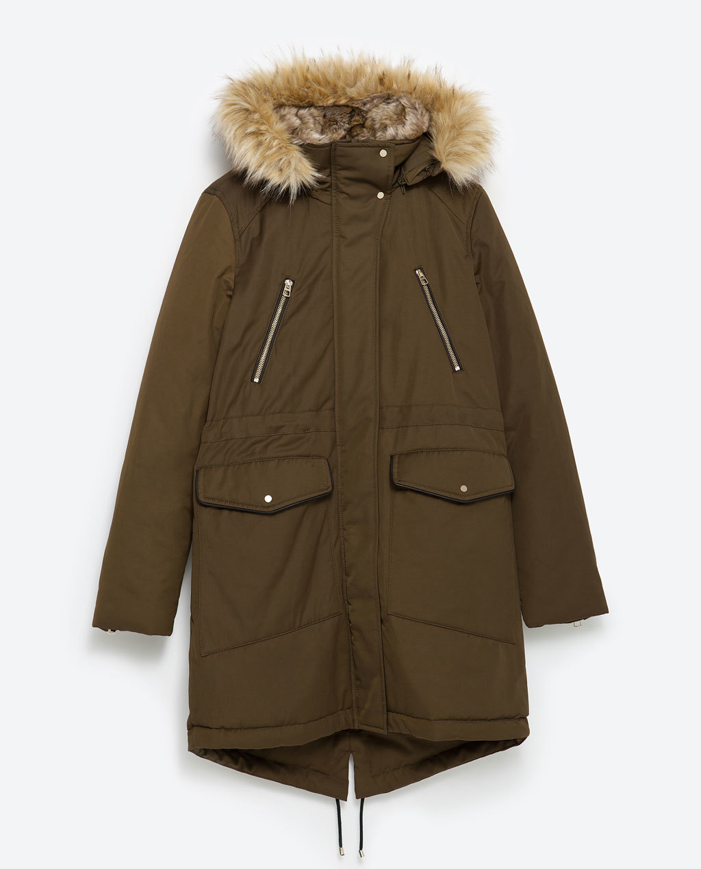Parka - pattern: plain; collar: funnel; style: parka; back detail: hood; length: mid thigh; secondary colour: camel; predominant colour: khaki; occasions: casual; fit: straight cut (boxy); fibres: cotton - 100%; sleeve length: long sleeve; sleeve style: standard; texture group: cotton feel fabrics; collar break: high; pattern type: fabric; embellishment: fur; season: a/w 2015; wardrobe: highlight; embellishment location: hip