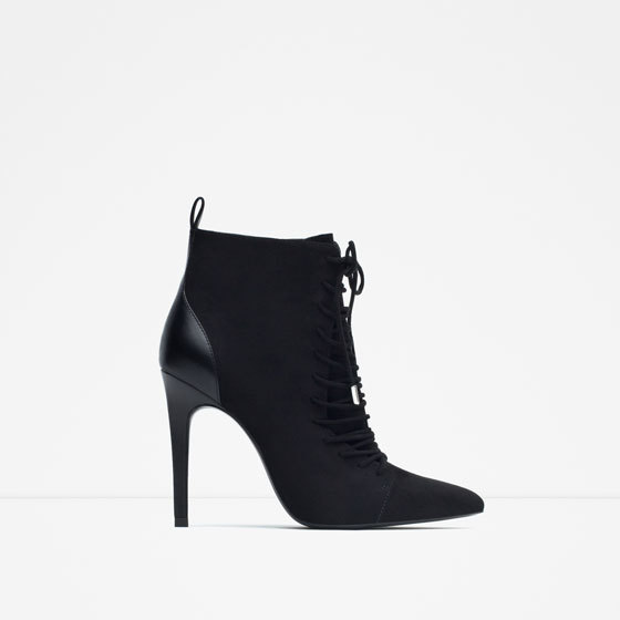 High Heel Ankle Boots With Laces - predominant colour: black; heel height: high; heel: block; toe: pointed toe; boot length: ankle boot; style: standard; finish: plain; pattern: plain; material: faux suede; occasions: creative work; season: a/w 2015; wardrobe: highlight