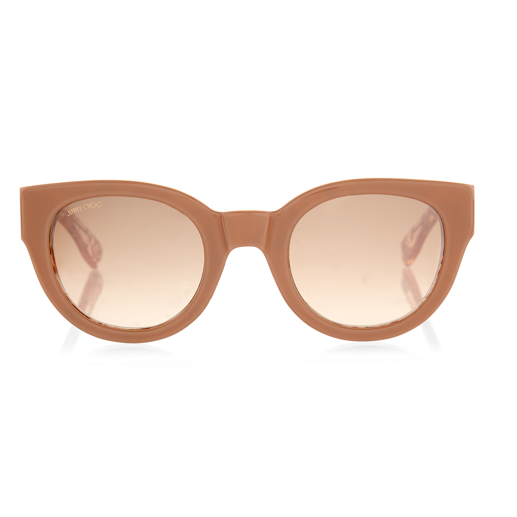Eda Nude Acetate Round Frame Sunglasses With Leaf Effect - predominant colour: camel; occasions: casual, holiday; style: cateye; size: standard; material: plastic/rubber; pattern: plain; finish: plain; season: a/w 2015; wardrobe: basic