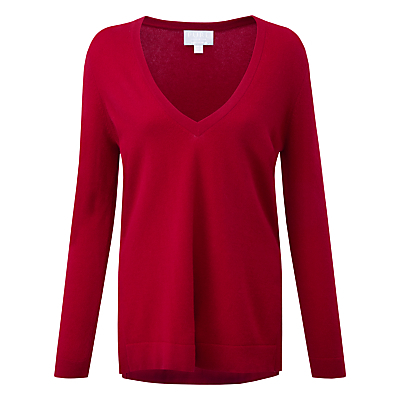 Macaulay Jumper, Redcurrant - neckline: low v-neck; pattern: plain; style: standard; predominant colour: true red; occasions: casual, creative work; length: standard; fit: standard fit; fibres: cashmere - 100%; sleeve length: long sleeve; sleeve style: standard; texture group: knits/crochet; pattern type: knitted - fine stitch; season: a/w 2015; wardrobe: highlight