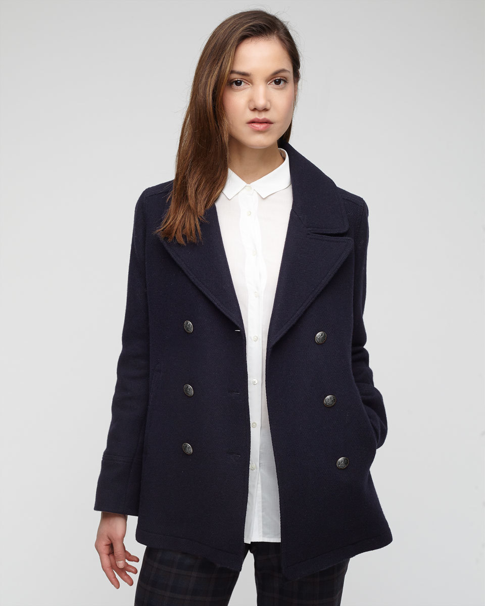 Wool Pea Coat - pattern: plain; length: below the bottom; style: pea coat; collar: standard lapel/rever collar; predominant colour: navy; occasions: casual, creative work; fit: tailored/fitted; fibres: wool - mix; sleeve length: long sleeve; sleeve style: standard; collar break: medium; pattern type: fabric; texture group: woven bulky/heavy; season: a/w 2015