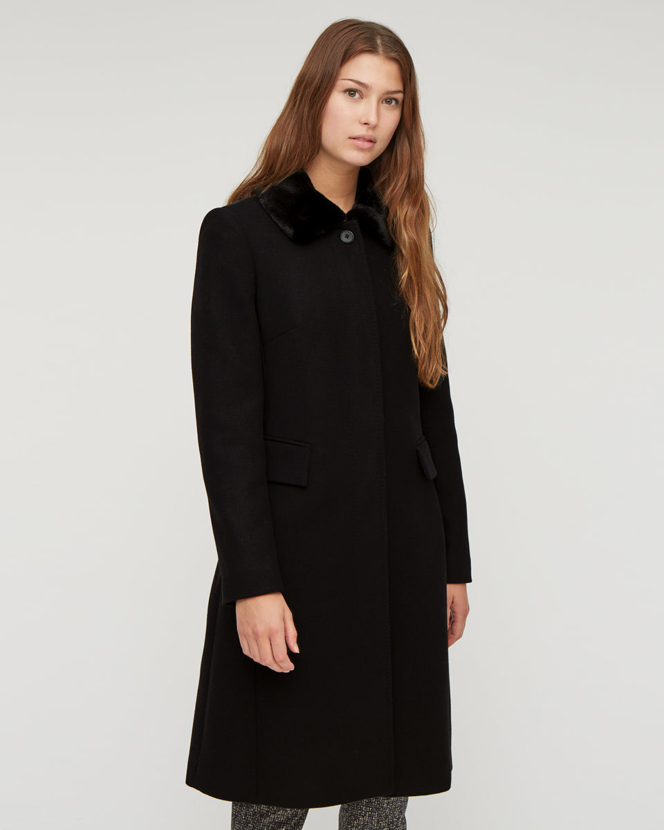 Modern Wool Fur Coat - pattern: plain; style: single breasted; length: on the knee; predominant colour: black; occasions: work, creative work; fit: tailored/fitted; fibres: wool - mix; collar: shirt collar/peter pan/zip with opening; sleeve length: long sleeve; sleeve style: standard; collar break: high; pattern type: fabric; texture group: woven bulky/heavy; embellishment: fur; hip detail: front pockets at hip; season: a/w 2015