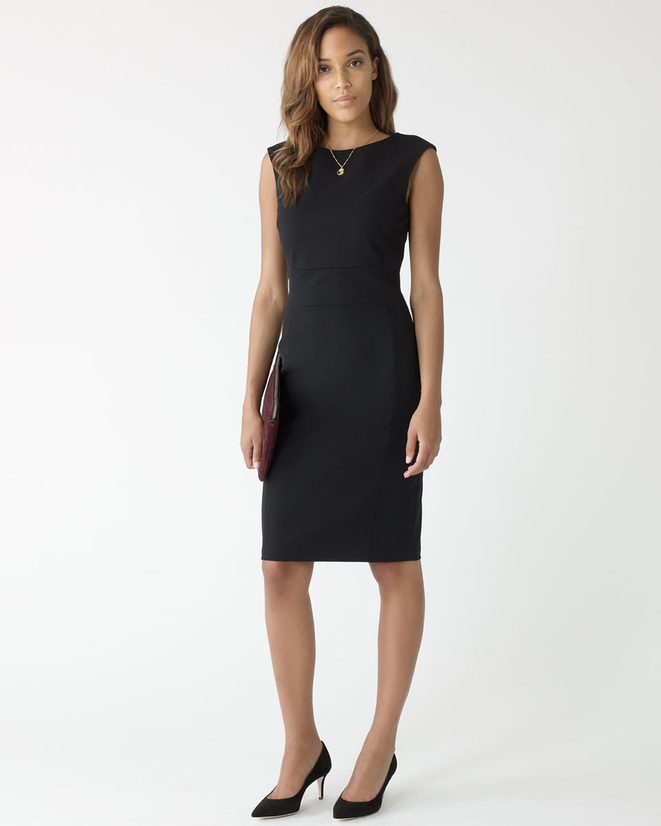 Paris Fit Tailored Sleeveless Dress - style: shift; fit: tailored/fitted; pattern: plain; sleeve style: sleeveless; predominant colour: black; length: on the knee; neckline: crew; sleeve length: sleeveless; pattern type: fabric; texture group: other - light to midweight; season: a/w 2015; wardrobe: investment
