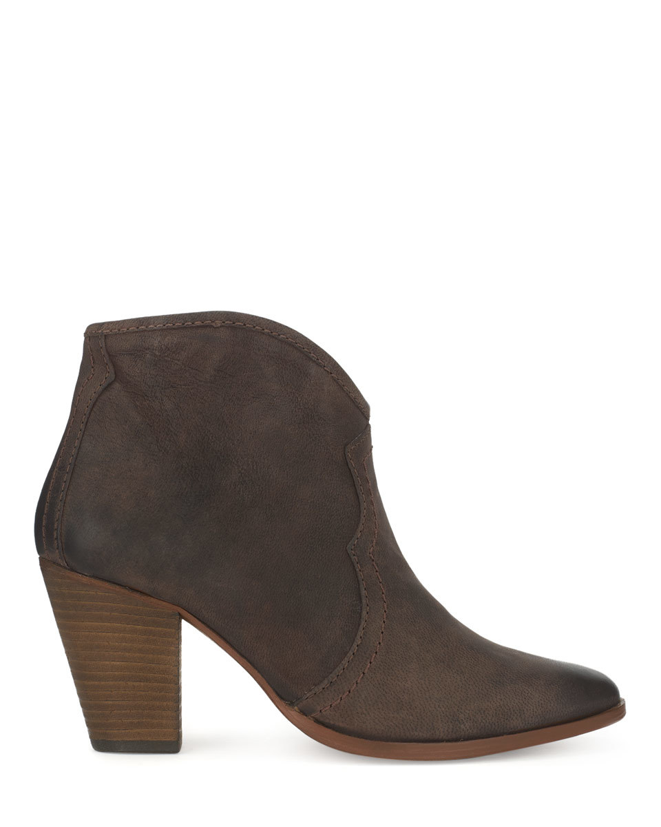 Cara Ankle Boot - predominant colour: chocolate brown; occasions: casual, creative work; material: leather; heel height: high; heel: block; toe: pointed toe; boot length: ankle boot; style: standard; finish: plain; pattern: plain; season: a/w 2015; wardrobe: highlight