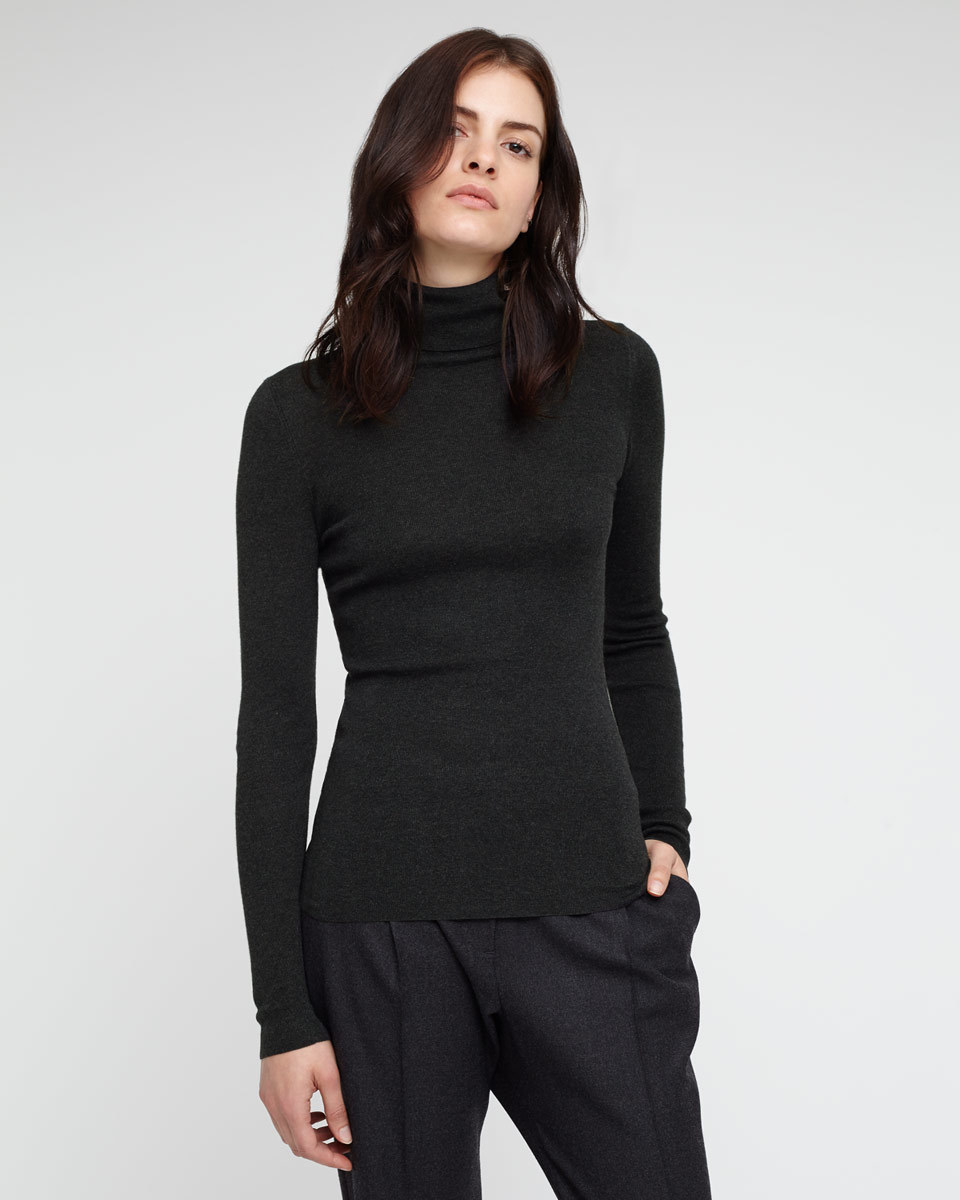 Silk Cotton Polo Neck Jumper - pattern: plain; neckline: roll neck; predominant colour: black; occasions: casual, creative work; length: standard; style: top; fit: tight; sleeve length: long sleeve; sleeve style: standard; texture group: knits/crochet; pattern type: knitted - fine stitch; season: a/w 2015; wardrobe: basic