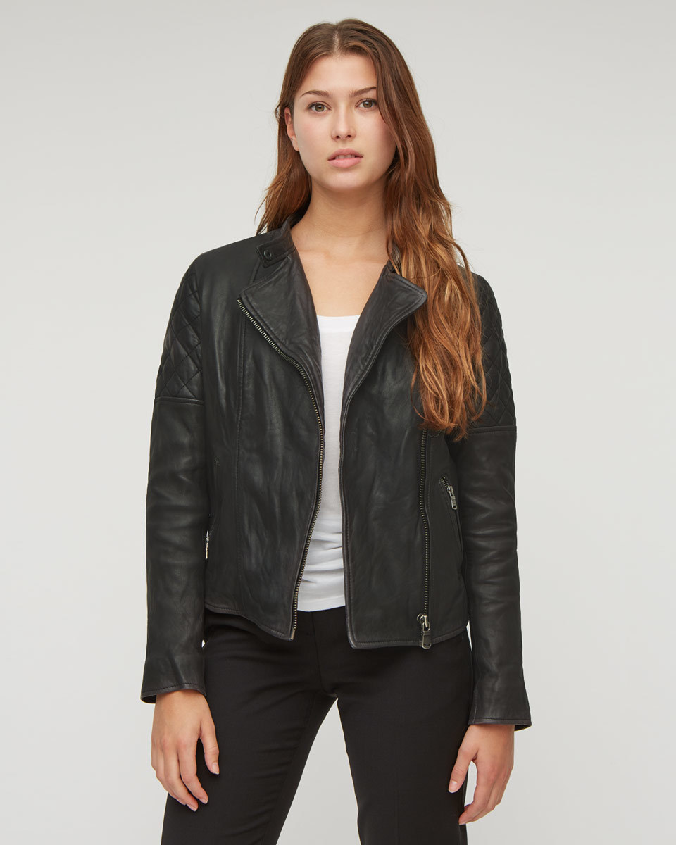 Quilted Washed Biker Jacket - pattern: plain; style: biker; collar: asymmetric biker; fit: slim fit; predominant colour: black; occasions: casual, creative work; length: standard; fibres: leather - 100%; sleeve length: long sleeve; sleeve style: standard; texture group: leather; collar break: medium; pattern type: fabric; season: a/w 2015