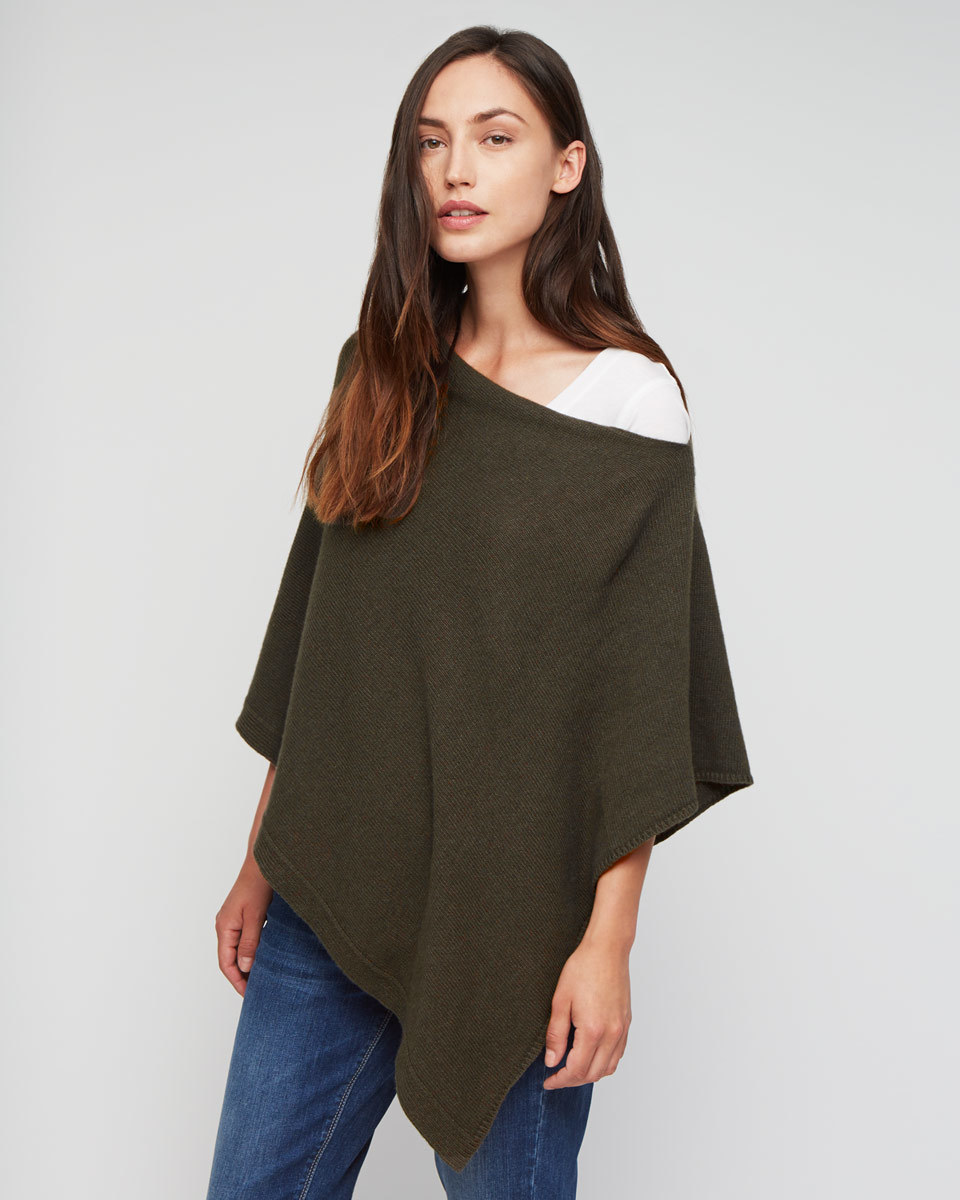 Knitted Ribbed Border Poncho - neckline: off the shoulder; pattern: plain; length: below the bottom; style: poncho; predominant colour: dark green; occasions: casual; fibres: wool - mix; fit: loose; sleeve length: 3/4 length; texture group: knits/crochet; pattern type: fabric; sleeve style: cape/poncho sleeve; season: a/w 2015