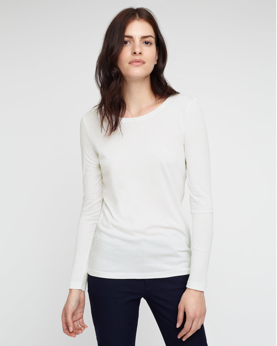 Pima Cotton Long Sleeve T Shirt - neckline: slash/boat neckline; pattern: plain; style: t-shirt; predominant colour: ivory/cream; occasions: casual; length: standard; fibres: cotton - 100%; fit: body skimming; sleeve length: long sleeve; sleeve style: standard; texture group: jersey - clingy; pattern type: fabric; season: a/w 2015; wardrobe: basic