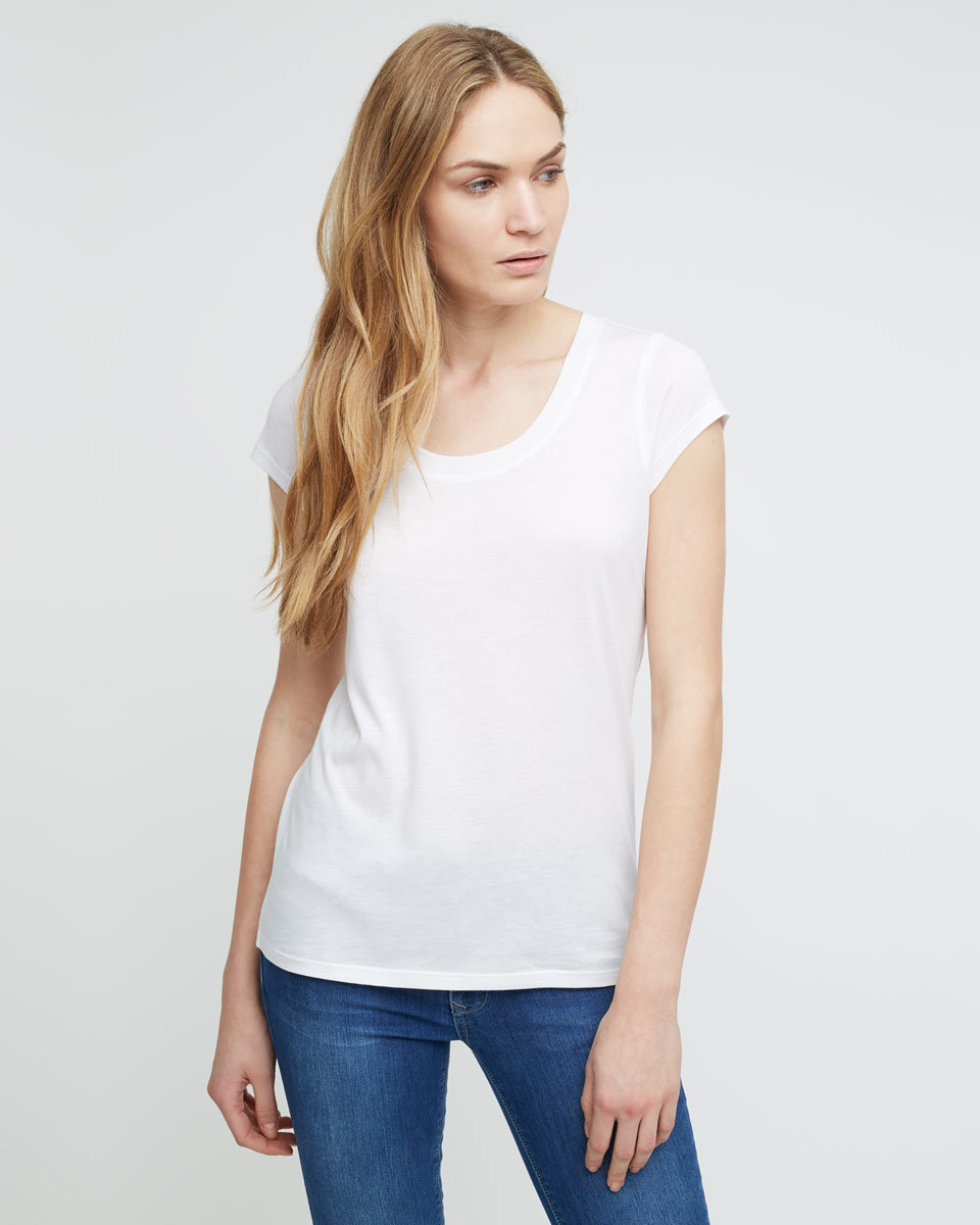 Pima Cotton T Shirt - sleeve style: capped; pattern: plain; style: t-shirt; predominant colour: white; occasions: casual; length: standard; neckline: scoop; fibres: cotton - 100%; fit: body skimming; sleeve length: short sleeve; pattern type: fabric; texture group: jersey - stretchy/drapey; season: a/w 2015; wardrobe: basic
