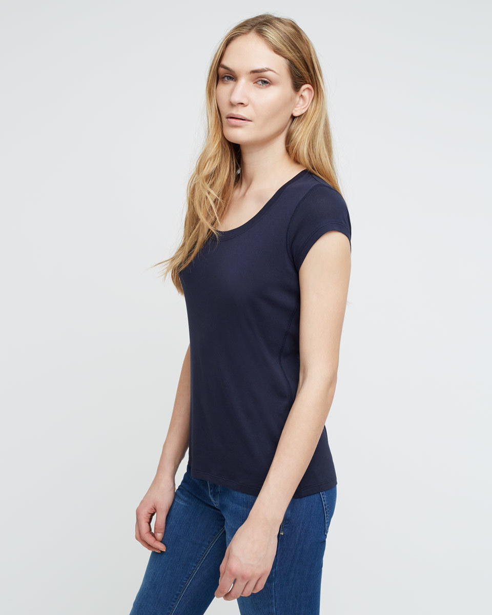 Pima Cotton T Shirt - sleeve style: capped; pattern: plain; style: t-shirt; predominant colour: navy; occasions: casual; length: standard; neckline: scoop; fibres: cotton - 100%; fit: body skimming; sleeve length: short sleeve; pattern type: fabric; texture group: jersey - stretchy/drapey; season: a/w 2015