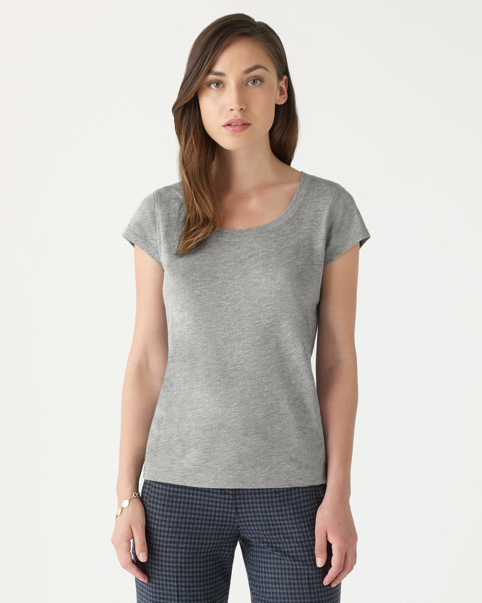 Pima Cotton T Shirt - pattern: plain; style: t-shirt; predominant colour: mid grey; occasions: casual; length: standard; neckline: scoop; fibres: cotton - 100%; fit: body skimming; sleeve length: short sleeve; sleeve style: standard; texture group: jersey - clingy; pattern type: fabric; season: a/w 2015; wardrobe: basic
