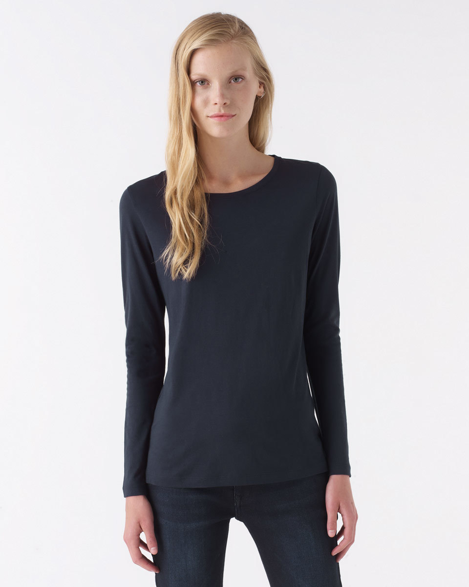 Pima Cotton Long Sleeve T Shirt - neckline: round neck; pattern: plain; predominant colour: navy; occasions: casual; length: standard; style: top; fibres: cotton - 100%; fit: body skimming; sleeve length: long sleeve; sleeve style: standard; texture group: jersey - clingy; pattern type: fabric; season: a/w 2015; wardrobe: basic
