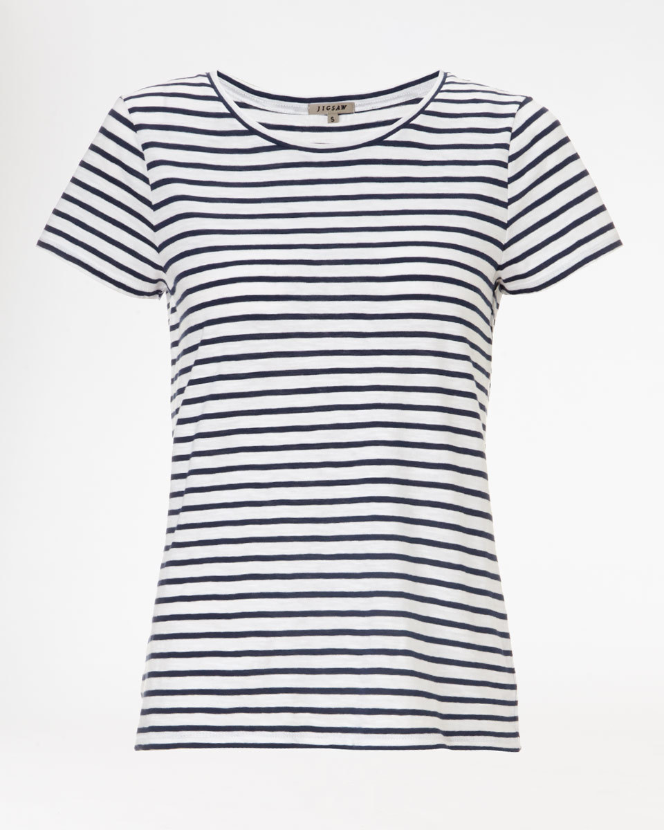 Slub Stripe T Shirt - neckline: round neck; pattern: striped; style: t-shirt; secondary colour: white; predominant colour: navy; occasions: casual; length: standard; fibres: cotton - 100%; fit: body skimming; sleeve length: short sleeve; sleeve style: standard; pattern type: fabric; texture group: jersey - stretchy/drapey; season: a/w 2015; wardrobe: highlight