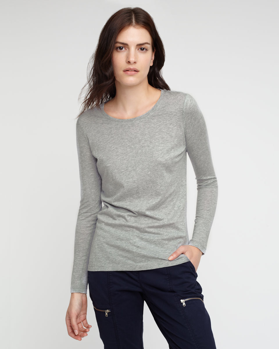 Pima Cotton Long Sleeve T Shirt - neckline: round neck; pattern: plain; style: t-shirt; predominant colour: light grey; occasions: casual, work, creative work; length: standard; fibres: cotton - 100%; fit: body skimming; sleeve length: long sleeve; sleeve style: standard; pattern type: fabric; texture group: jersey - stretchy/drapey; season: a/w 2015; wardrobe: basic