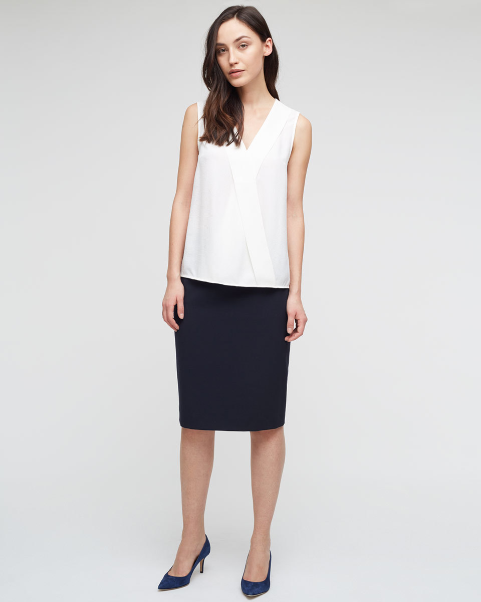 Paris Tailoring Skirt - pattern: plain; style: pencil; fit: tailored/fitted; waist: mid/regular rise; predominant colour: navy; occasions: work; length: on the knee; fibres: cotton - 100%; texture group: cotton feel fabrics; pattern type: fabric; season: a/w 2015; wardrobe: basic