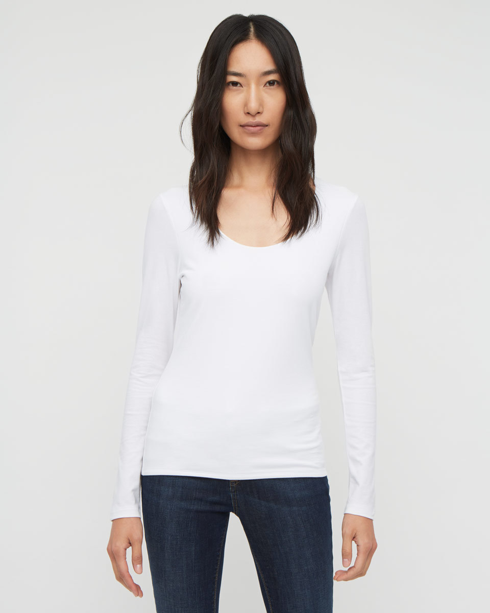 Double Front Scoop T Shirt - neckline: round neck; pattern: plain; style: t-shirt; predominant colour: white; occasions: casual; length: standard; fibres: cotton - stretch; fit: body skimming; sleeve length: long sleeve; sleeve style: standard; pattern type: fabric; texture group: jersey - stretchy/drapey; season: a/w 2015; wardrobe: basic