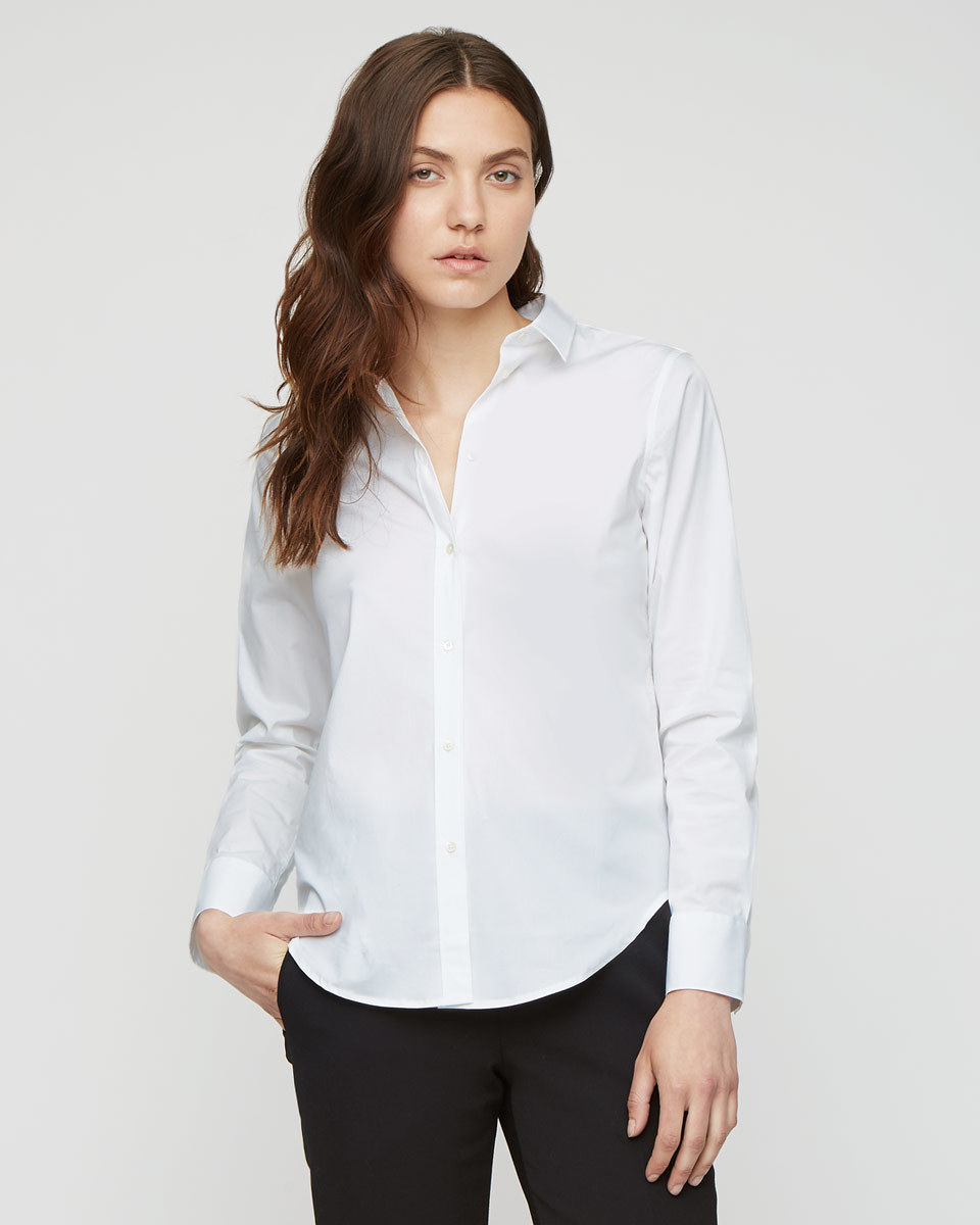 White Cotton Shirt - neckline: shirt collar/peter pan/zip with opening; pattern: plain; style: shirt; predominant colour: white; occasions: casual, work, creative work; length: standard; fibres: cotton - 100%; fit: body skimming; sleeve length: long sleeve; sleeve style: standard; texture group: cotton feel fabrics; pattern type: fabric; season: a/w 2015; wardrobe: basic