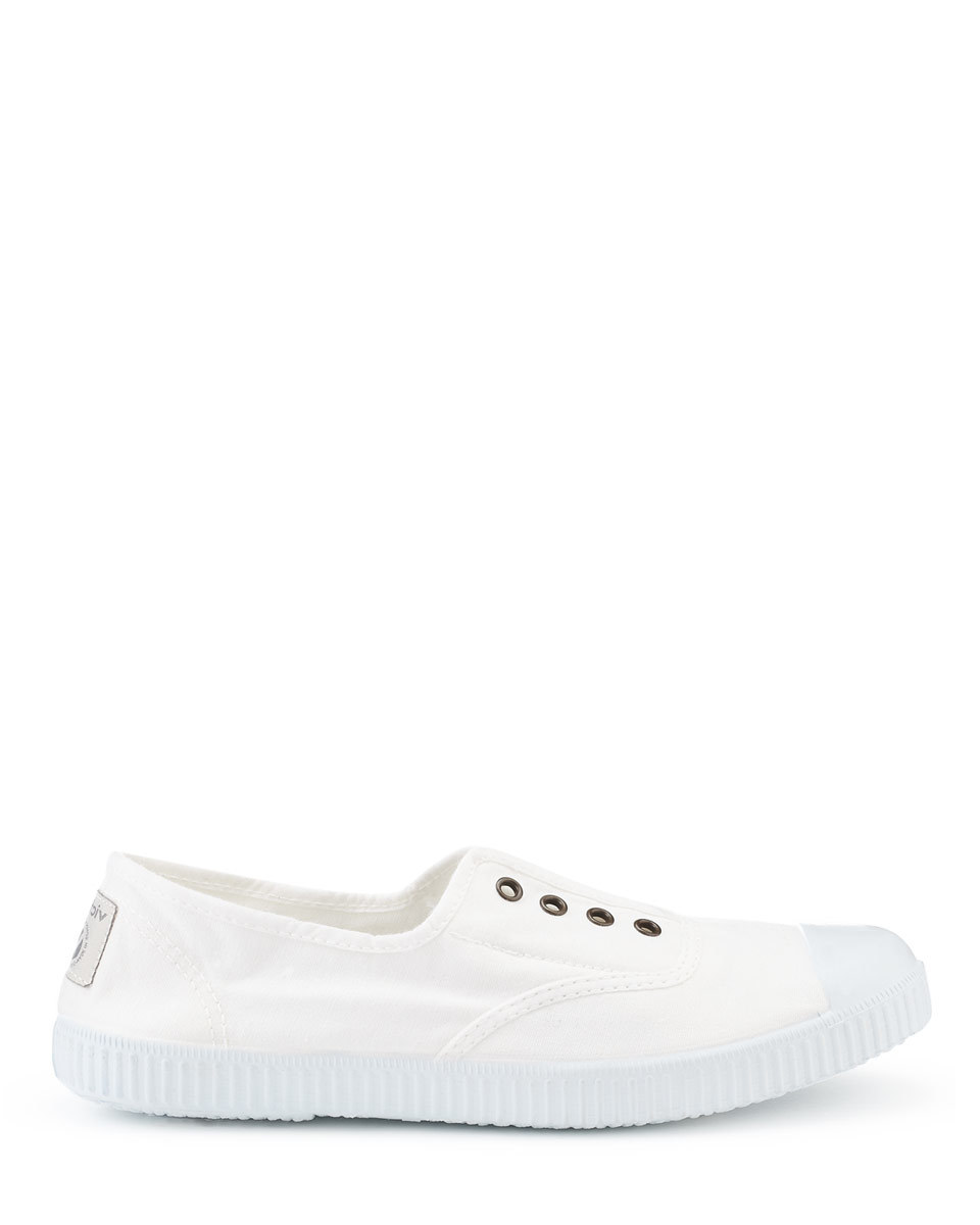 Victoria Plimsolls - predominant colour: white; occasions: casual; material: fabric; heel height: flat; toe: round toe; style: trainers; finish: plain; pattern: plain; shoe detail: moulded soul; season: a/w 2015; wardrobe: highlight