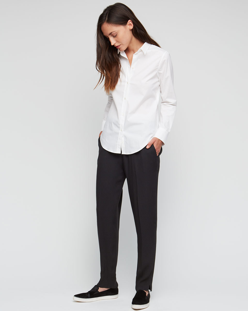 Relaxed Crepe Trousers - length: standard; pattern: plain; waist: mid/regular rise; predominant colour: black; occasions: work; texture group: crepes; fit: slim leg; pattern type: fabric; style: standard; fibres: viscose/rayon - mix; season: a/w 2015; wardrobe: basic