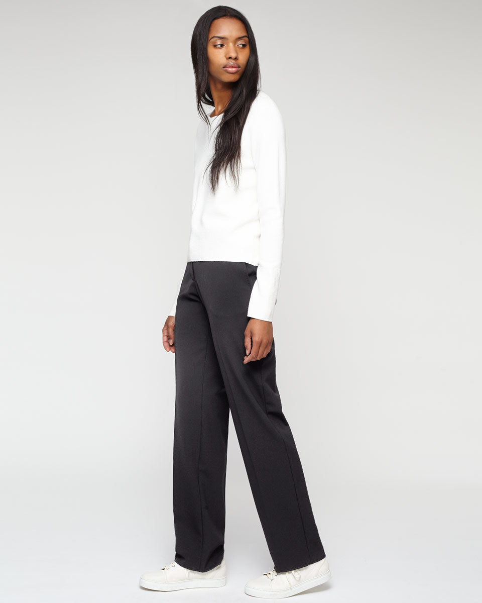 Paris Marais Trousers - length: standard; pattern: plain; waist: mid/regular rise; predominant colour: black; occasions: work, creative work; fibres: polyester/polyamide - stretch; fit: wide leg; pattern type: fabric; texture group: other - light to midweight; style: standard; season: a/w 2015; wardrobe: basic