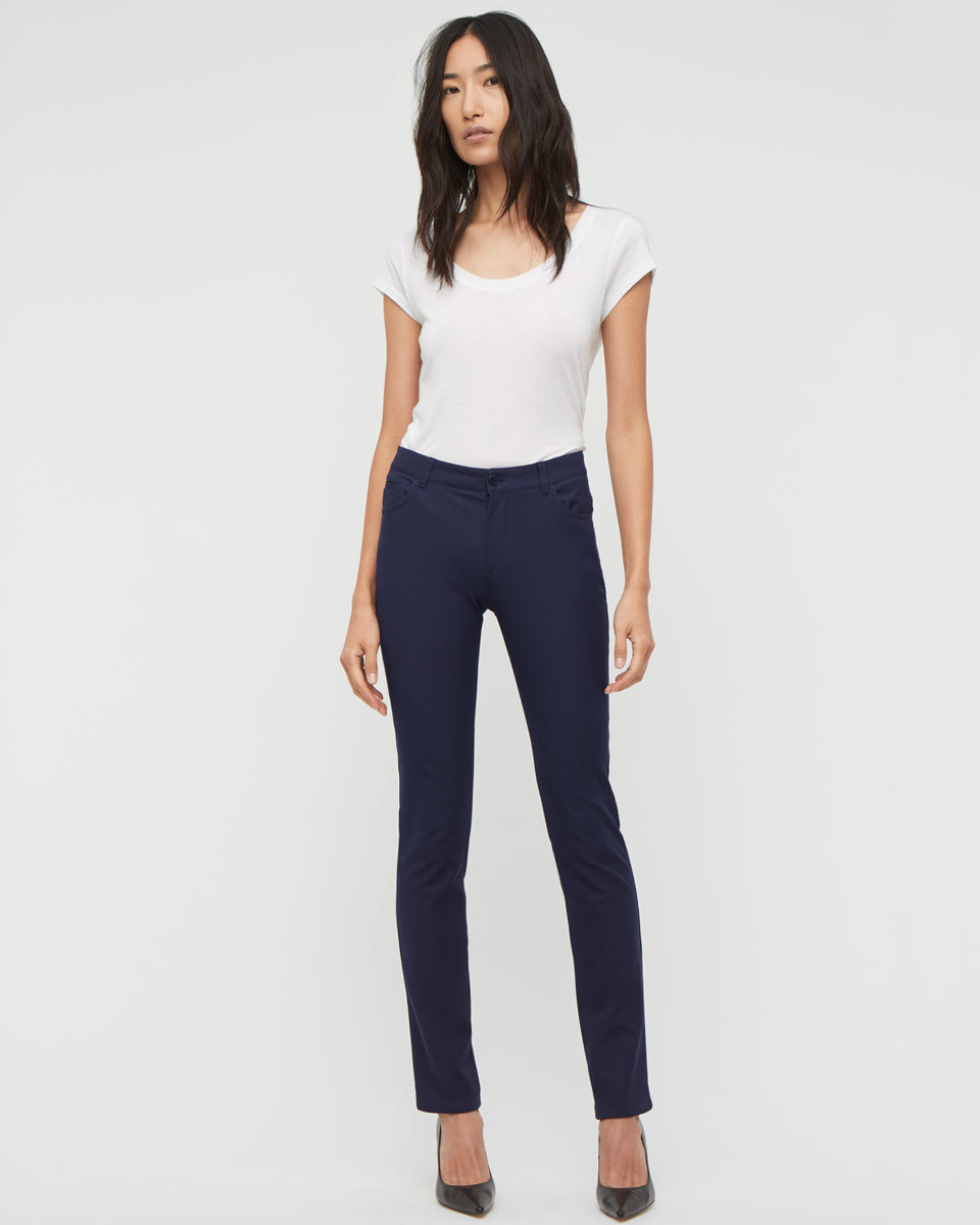 Bi Stretch Jeans - style: skinny leg; length: standard; pattern: plain; waist: high rise; pocket detail: traditional 5 pocket; predominant colour: navy; occasions: casual; fibres: cotton - stretch; jeans detail: dark wash; texture group: denim; pattern type: fabric; season: a/w 2015