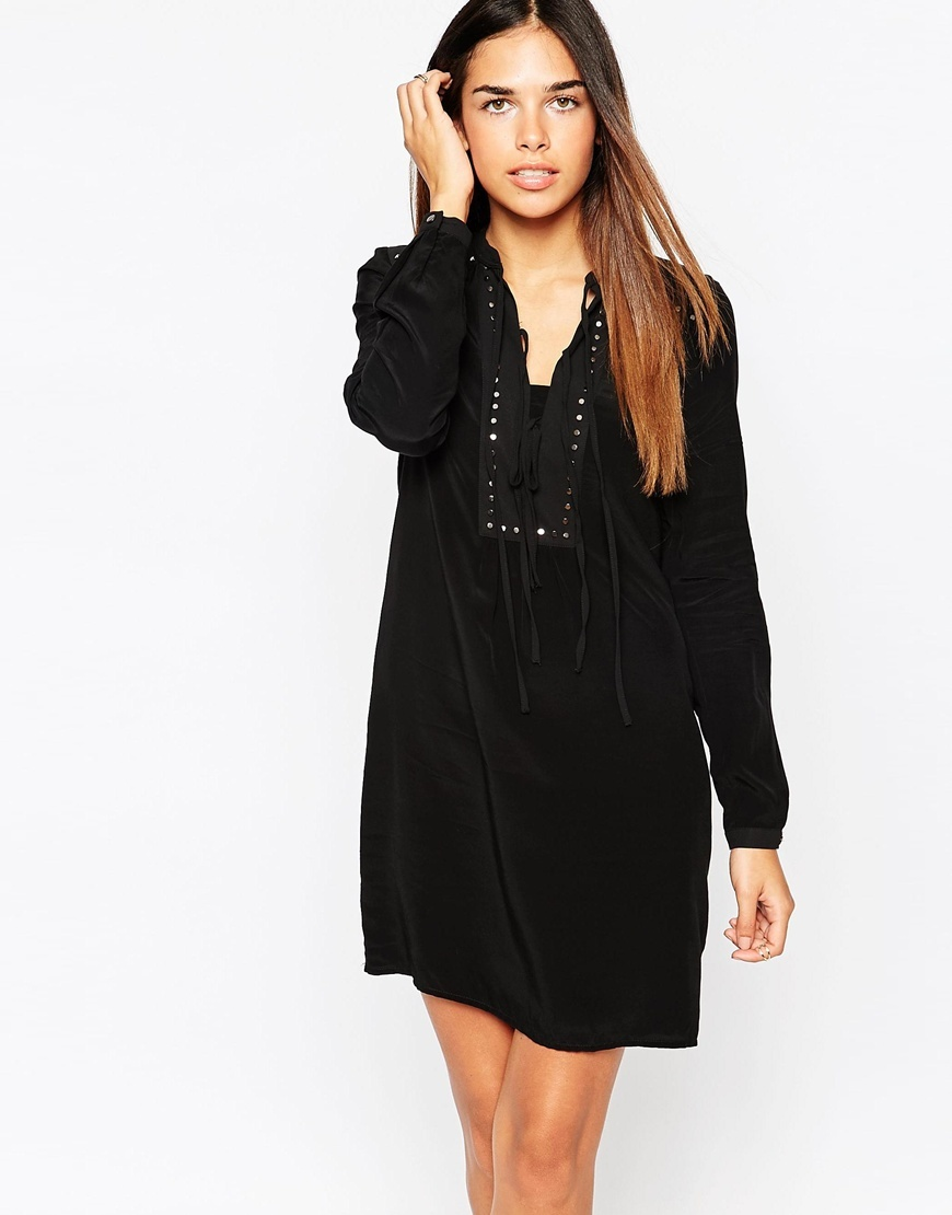 Stud Tie Front Dress Black - style: tunic; length: mid thigh; neckline: v-neck; fit: loose; pattern: plain; bust detail: added detail/embellishment at bust; secondary colour: silver; predominant colour: black; occasions: evening; fibres: polyester/polyamide - 100%; sleeve length: long sleeve; sleeve style: standard; texture group: crepes; pattern type: fabric; embellishment: studs; season: a/w 2015