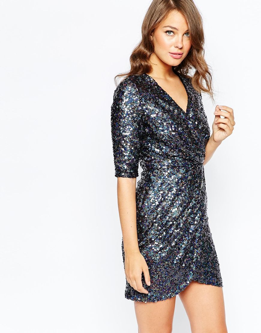 French Conection Lunar Sparkle Wrap Dress Charcoal - style: faux wrap/wrap; length: mini; neckline: v-neck; fit: tailored/fitted; pattern: plain; hip detail: fitted at hip; predominant colour: silver; occasions: evening; fibres: polyester/polyamide - 100%; sleeve length: half sleeve; sleeve style: standard; pattern type: fabric; texture group: other - light to midweight; embellishment: sequins; season: a/w 2015