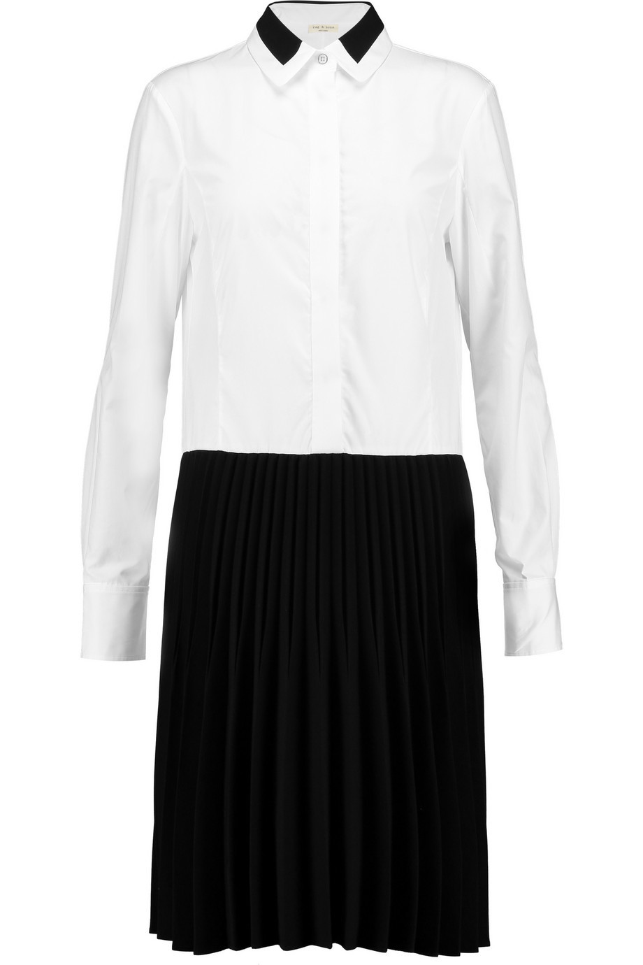 Courchevel Cotton Poplin And Crepe Shirt Dress White - style: shirt; neckline: shirt collar/peter pan/zip with opening; secondary colour: white; predominant colour: black; length: on the knee; fit: body skimming; hip detail: structured pleats at hip; sleeve length: long sleeve; sleeve style: standard; trends: monochrome; pattern type: fabric; pattern: colourblock; texture group: other - light to midweight; occasions: creative work; season: a/w 2015