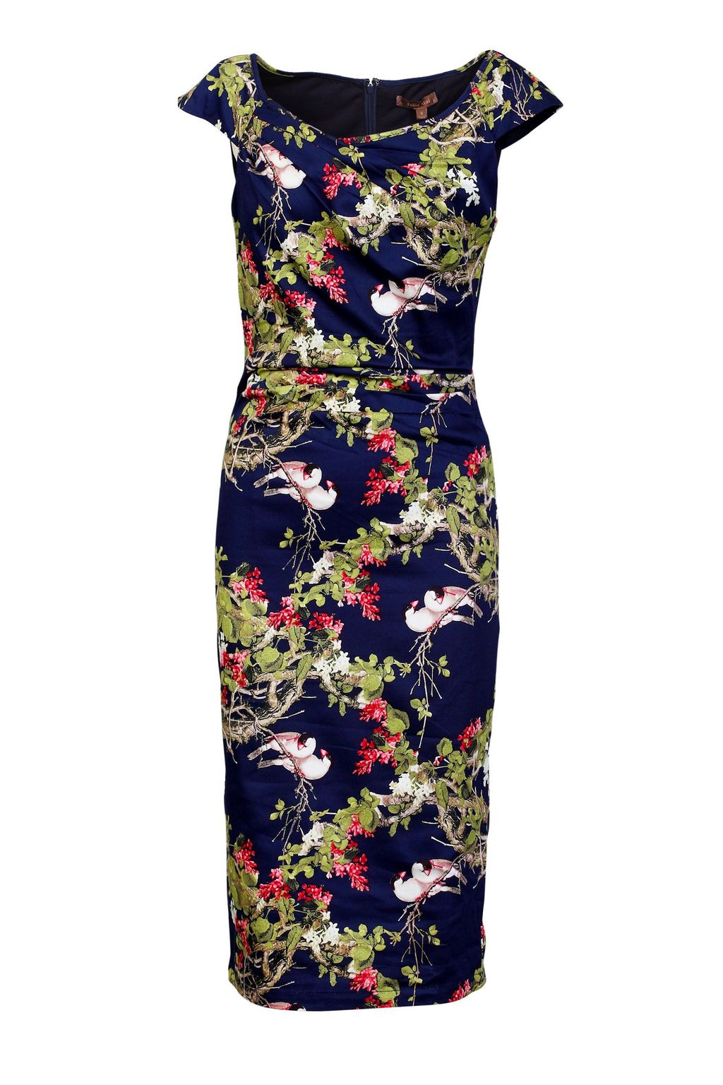 Retro Floral Print Ruched Dress, Navy - style: shift; length: below the knee; neckline: round neck; sleeve style: capped; fit: tailored/fitted; predominant colour: navy; secondary colour: lime; occasions: occasion; sleeve length: short sleeve; pattern type: fabric; pattern size: standard; pattern: florals; texture group: other - light to midweight; season: a/w 2015; wardrobe: event