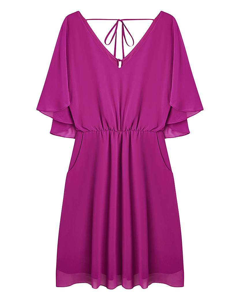 Cape Back Dress - style: shift; neckline: v-neck; sleeve style: angel/waterfall; fit: fitted at waist; pattern: plain; predominant colour: hot pink; occasions: evening; length: just above the knee; fibres: polyester/polyamide - 100%; sleeve length: short sleeve; pattern type: fabric; texture group: jersey - stretchy/drapey; season: a/w 2015; wardrobe: event