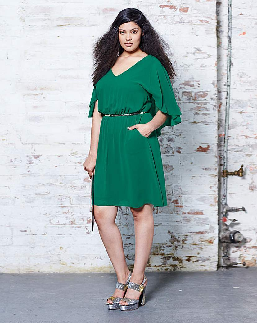 Cape Back Dress - style: shift; neckline: v-neck; fit: fitted at waist; pattern: plain; waist detail: belted waist/tie at waist/drawstring; predominant colour: emerald green; occasions: evening; length: just above the knee; fibres: polyester/polyamide - 100%; sleeve length: 3/4 length; sleeve style: standard; texture group: crepes; pattern type: fabric; pattern size: standard; season: a/w 2015