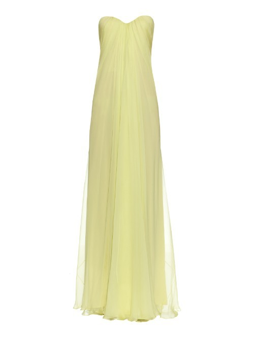 Bustier Top Silk Chiffon Gown - style: ballgown; neckline: strapless (straight/sweetheart); pattern: plain; sleeve style: strapless; predominant colour: primrose yellow; length: floor length; fit: body skimming; fibres: silk - 100%; occasions: occasion; sleeve length: sleeveless; texture group: sheer fabrics/chiffon/organza etc.; pattern type: fabric; season: a/w 2015