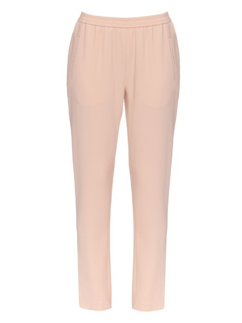 Tamara Straight Leg Cady Trousers - pattern: plain; waist detail: elasticated waist; waist: mid/regular rise; predominant colour: blush; occasions: casual, creative work; length: ankle length; fibres: silk - 100%; hip detail: fitted at hip (bottoms); texture group: crepes; fit: slim leg; pattern type: fabric; style: standard; season: a/w 2015; wardrobe: basic