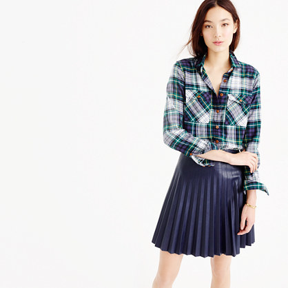 Petite Boyfriend Shirt In Ridge Plaid - neckline: shirt collar/peter pan/zip with opening; pattern: horizontal stripes; style: shirt; secondary colour: pale blue; predominant colour: navy; occasions: casual; length: standard; fibres: cotton - 100%; fit: straight cut; sleeve length: long sleeve; sleeve style: standard; pattern type: fabric; pattern size: standard; texture group: woven light midweight; season: a/w 2015; wardrobe: highlight