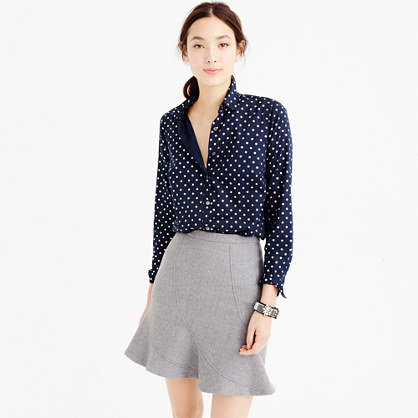 Tall Perfect Shirt In Foil Dot - length: below the bottom; style: shirt; pattern: polka dot; predominant colour: white; secondary colour: navy; occasions: casual, creative work; neckline: collarstand & mandarin with v-neck; fibres: cotton - 100%; fit: straight cut; sleeve length: long sleeve; sleeve style: standard; texture group: cotton feel fabrics; pattern type: fabric; pattern size: light/subtle; season: a/w 2015; wardrobe: highlight