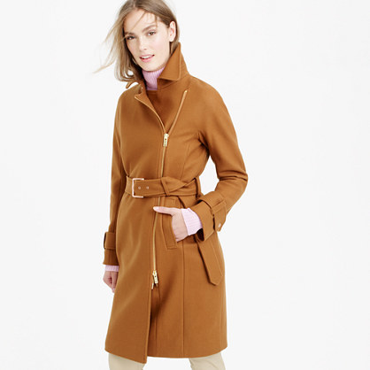 Petite Belted Zip Trench Coat In Wool Melton - pattern: plain; style: double breasted; collar: standard lapel/rever collar; length: mid thigh; predominant colour: mustard; occasions: casual, creative work; fit: tailored/fitted; fibres: wool - mix; waist detail: belted waist/tie at waist/drawstring; sleeve length: long sleeve; sleeve style: standard; collar break: medium; pattern type: fabric; texture group: woven light midweight; season: a/w 2015; wardrobe: highlight