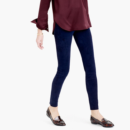 Collection Suede Leggings - pattern: plain; style: leggings; waist detail: elasticated waist; waist: mid/regular rise; predominant colour: navy; occasions: casual; length: ankle length; fibres: leather - 100%; fit: skinny/tight leg; pattern type: fabric; texture group: suede; season: a/w 2015; wardrobe: highlight