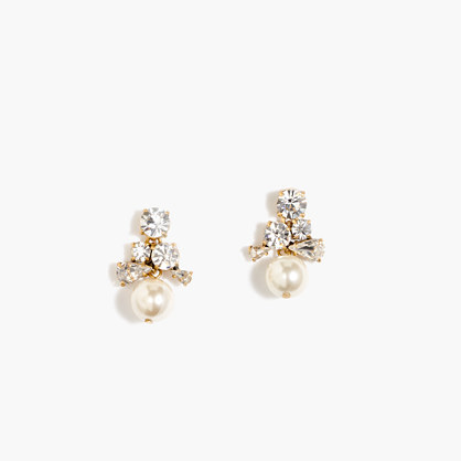 Pearl Cluster Earrings - secondary colour: ivory/cream; predominant colour: gold; occasions: evening, occasion; style: drop; length: mid; size: standard; material: chain/metal; fastening: pierced; finish: metallic; embellishment: pearls; season: a/w 2015; wardrobe: event