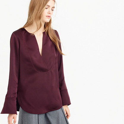 Collection Satin Tunic Top - neckline: low v-neck; sleeve style: bell sleeve; pattern: plain; length: below the bottom; style: tunic; predominant colour: burgundy; occasions: casual, creative work; fibres: acrylic - mix; fit: straight cut; sleeve length: long sleeve; texture group: structured shiny - satin/tafetta/silk etc.; pattern type: fabric; season: a/w 2015