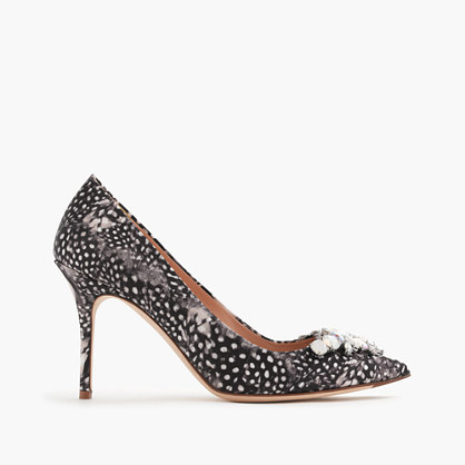 Collection Elsie Jeweled Feather Print Pumps - secondary colour: white; predominant colour: black; occasions: evening; material: fabric; heel height: high; embellishment: jewels/stone; heel: stiletto; toe: pointed toe; style: courts; trends: monochrome; finish: plain; pattern: patterned/print; season: a/w 2015