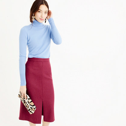 A Line Midi Skirt In Double Serge Wool - length: below the knee; pattern: plain; style: pencil; fit: tailored/fitted; waist: high rise; fibres: wool - 100%; pattern type: fabric; texture group: woven light midweight; predominant colour: raspberry; occasions: creative work; season: a/w 2015; wardrobe: highlight