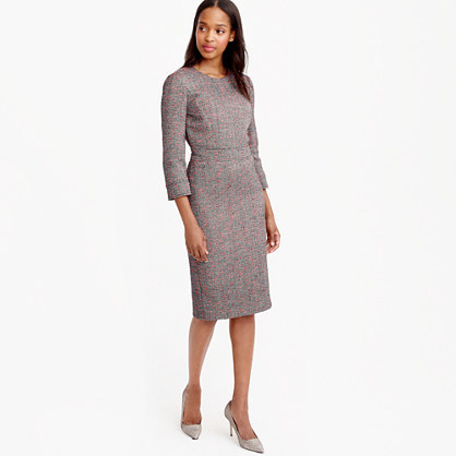 Petite Neon Tweed Long Sleeve Dress - style: shift; fit: tailored/fitted; pattern: plain; predominant colour: light grey; occasions: evening; length: on the knee; fibres: polyester/polyamide - mix; neckline: crew; sleeve length: 3/4 length; sleeve style: standard; pattern type: fabric; texture group: tweed - light/midweight; season: a/w 2015