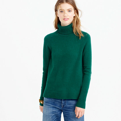 Petite Classic Turtleneck Sweater In Wool Cashmere Blend - pattern: plain; neckline: roll neck; style: standard; predominant colour: dark green; occasions: casual; length: standard; fibres: wool - mix; fit: slim fit; sleeve length: long sleeve; sleeve style: standard; texture group: knits/crochet; pattern type: fabric; season: a/w 2015; wardrobe: highlight