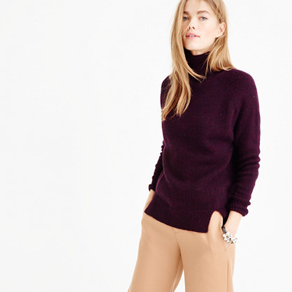 Turtleneck Sweater With Notched Hem - pattern: plain; neckline: wide roll/funnel neck; style: standard; predominant colour: aubergine; occasions: casual; length: standard; fibres: wool - mix; fit: standard fit; sleeve length: long sleeve; sleeve style: standard; texture group: knits/crochet; pattern type: knitted - fine stitch; season: a/w 2015